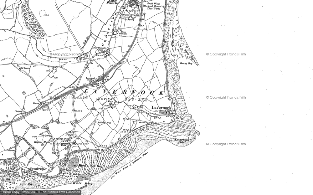 Old Map of Historic Map covering Lavernock Point in 1915