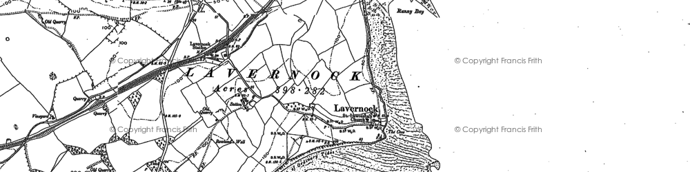 Old map of Lavernock in 1915