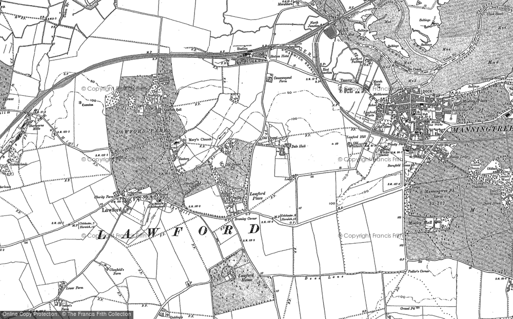 Old Map of Historic Map covering Aldhams in 1896