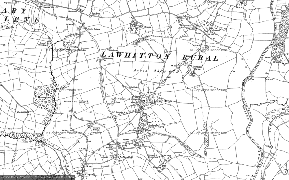 Old Map of Lawhitton, 1883 in 1883