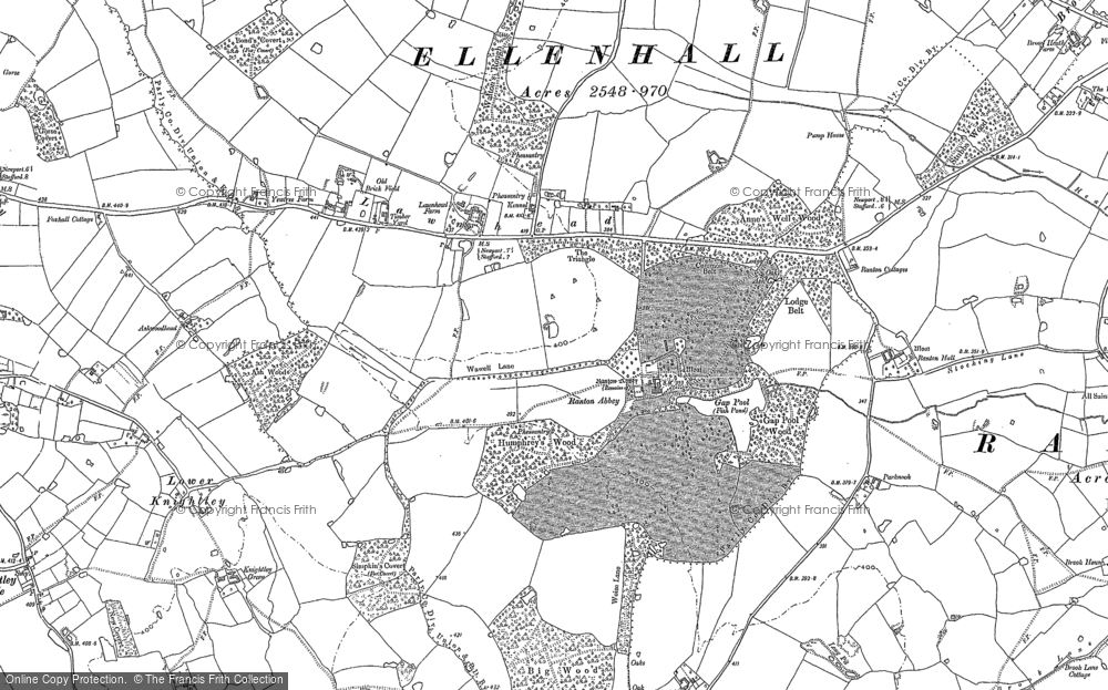 Old Map of Historic Map covering Ash Wood in 1880