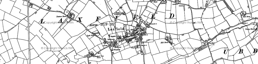 Old map of Laxfield in 1883