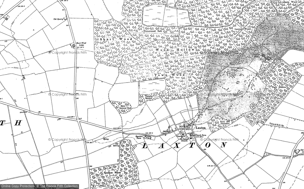 Old Map of Laxton, 1885 - 1899 in 1885