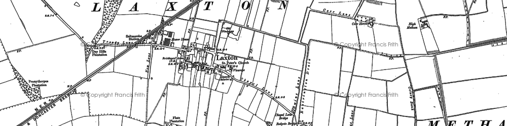 Old map of Laxton in 1888