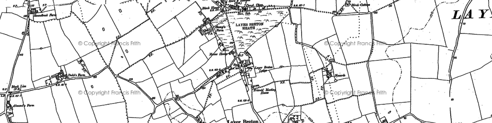 Old map of Layer Breton Hall in 1895