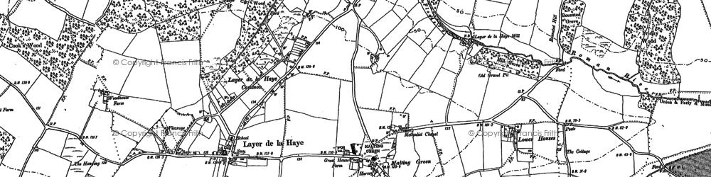 Old map of Abberton Reservoir in 1895
