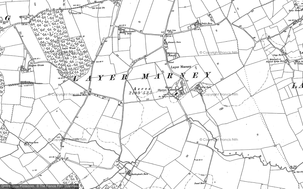 Old Map of Historic Map covering Layer Wood in 1895