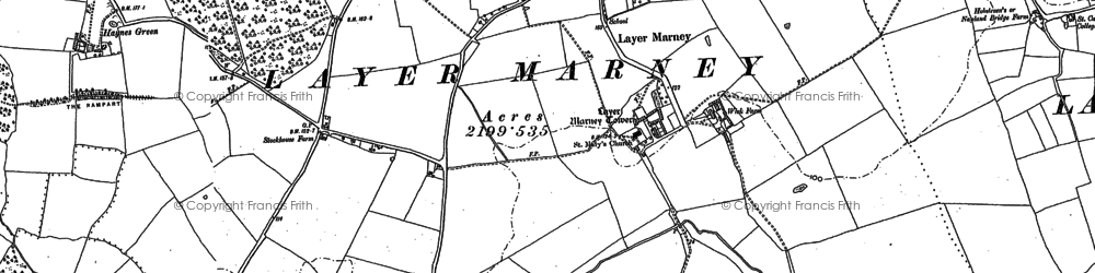 Old map of Layer Wood in 1895