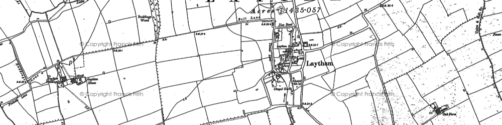 Old map of Aughton Ruddings in 1887