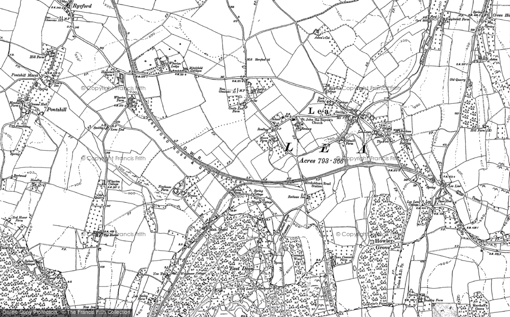 Old Map of Historic Map covering Lea Line in 1903