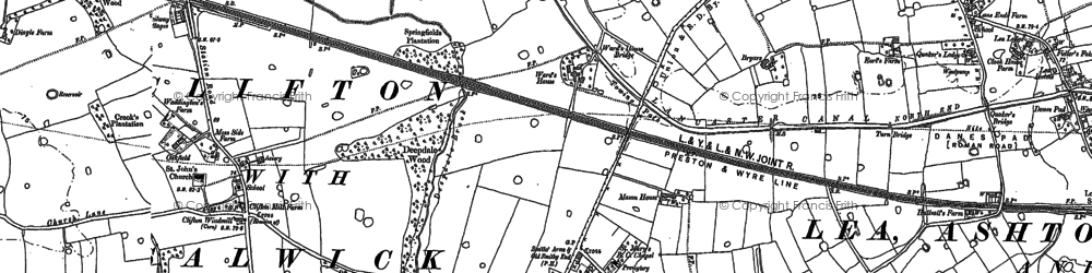 Old map of Lea Town in 1905