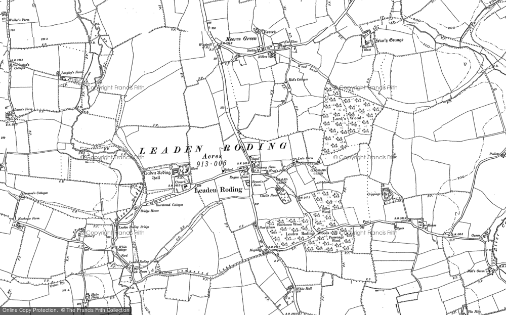Old Map of Leaden Roding, 1895 in 1895