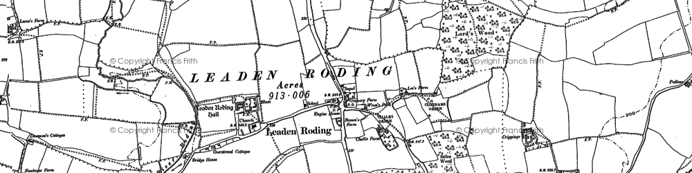 Old map of Leaden Roding in 1895