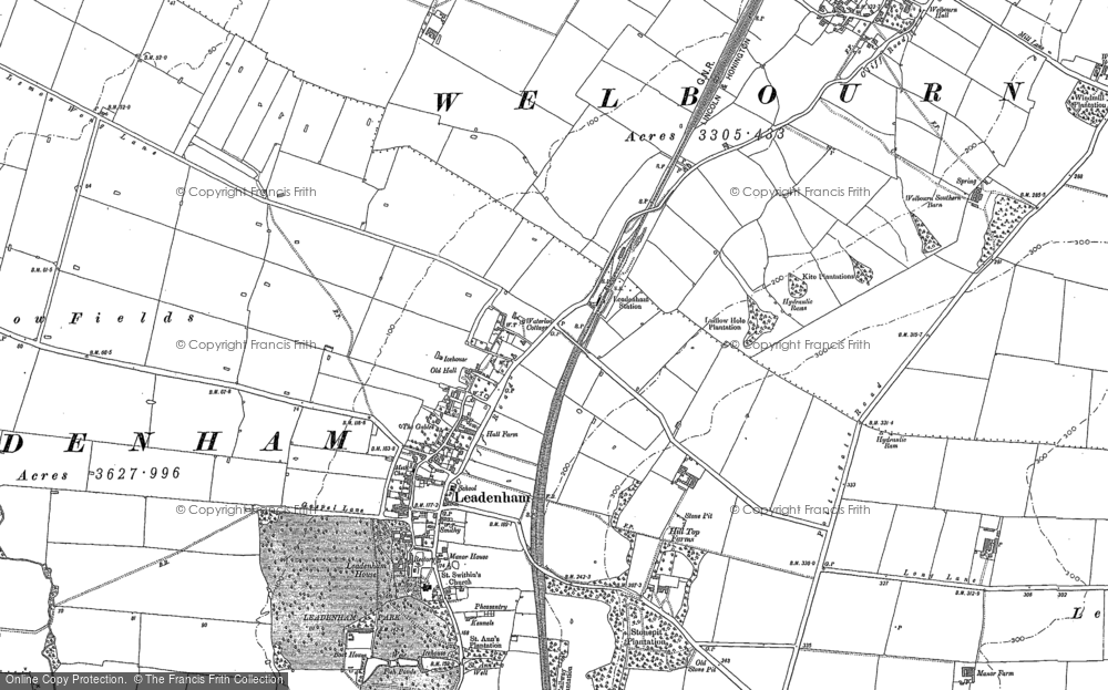 Old Map of Historic Map covering Leadenham Low Fields in 1886