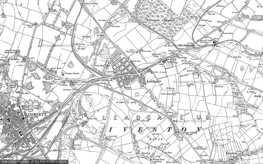 Map of Leadgate, 1916 - 1919