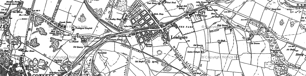 Old map of Leadgate in 1916