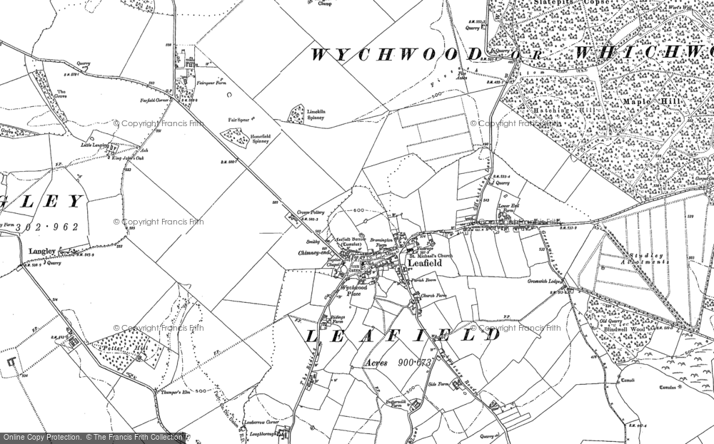 Old Map of Leafield, 1898 in 1898