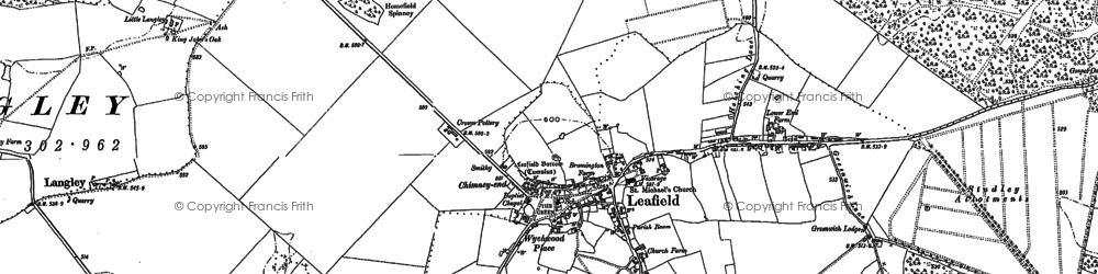 Old map of Leafield in 1898