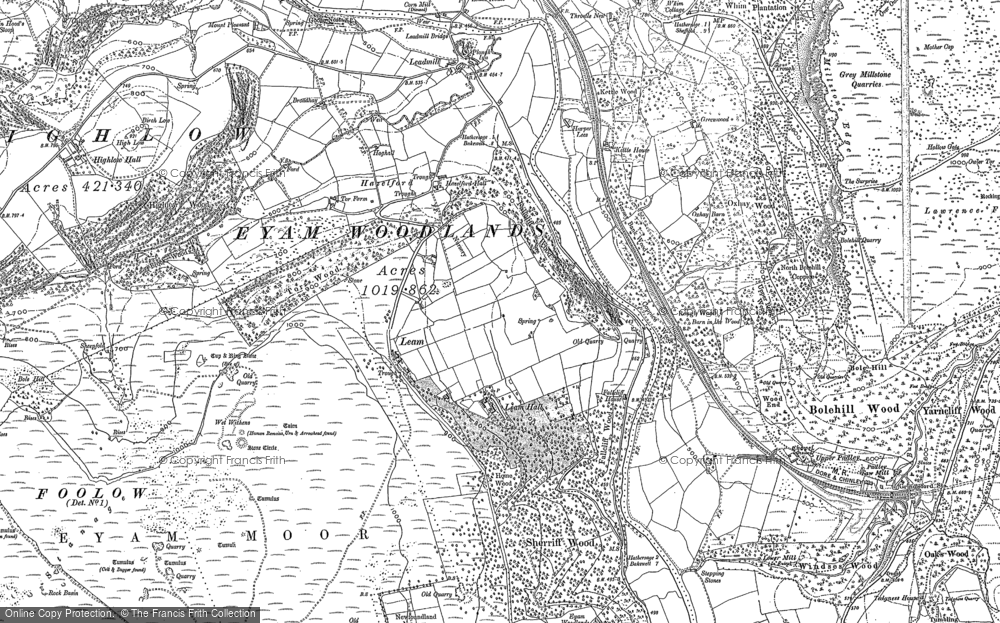 Old Map of Historic Map covering Leam Hall in 1879