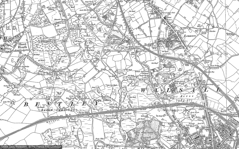Old Map of Leamore, 1883 - 1885 in 1883