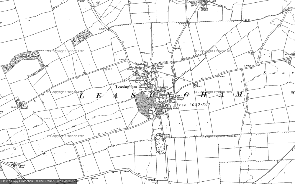 Old Map of Leasingham, 1887 in 1887