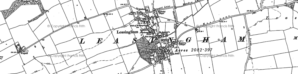 Old map of Leasingham in 1887