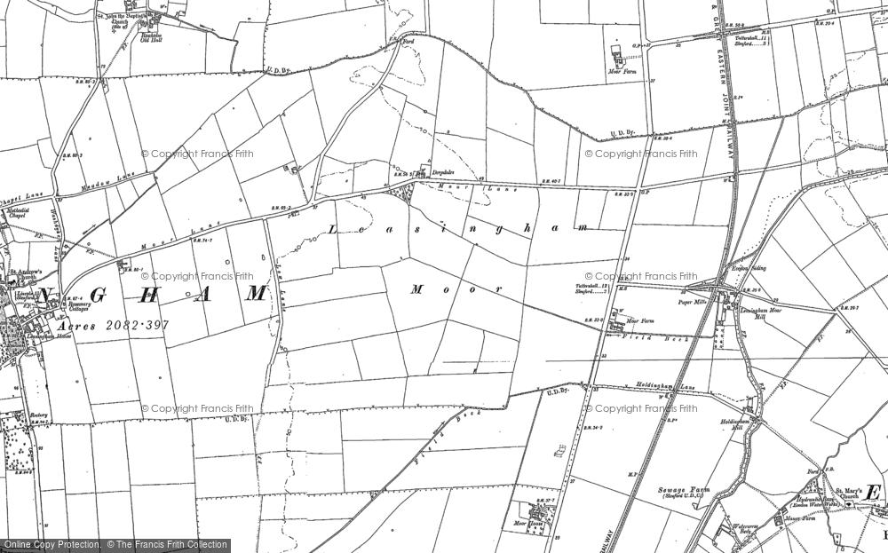 Old Map of Leasingham Moor, 1887 in 1887