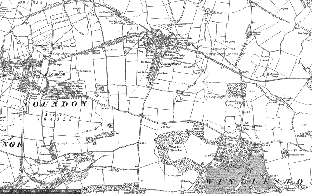 Old Map of Leasingthorne, 1896 in 1896