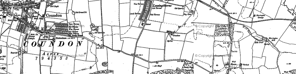 Old map of Leasingthorne in 1896