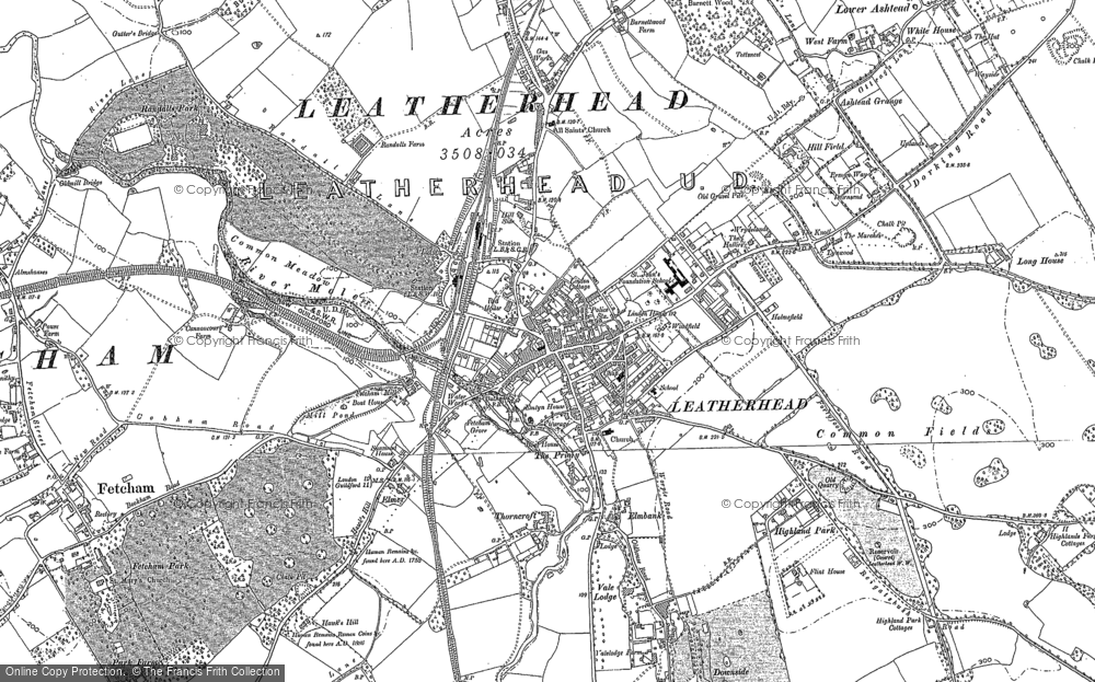 Old Map of Leatherhead, 1894 - 1895 in 1894