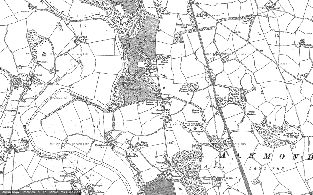 Old Map of Historic Map covering Leaton Shelf in 1881