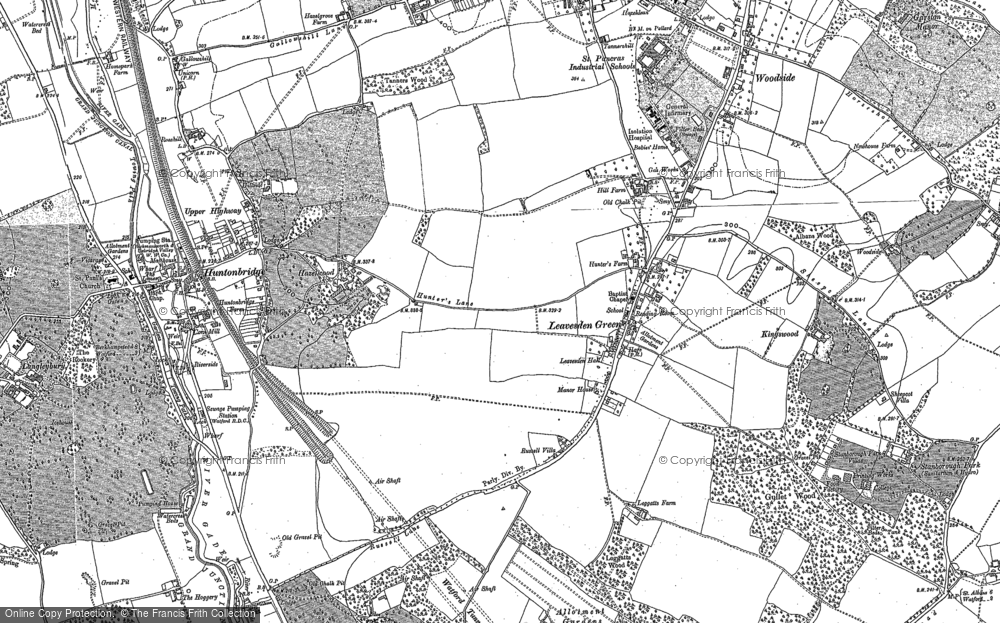 Old Map of Leavesden Green, 1896 in 1896