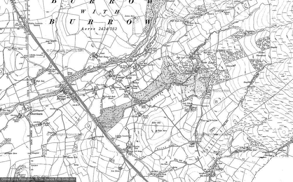 Old Map of Historic Map covering Leck Fell in 1910