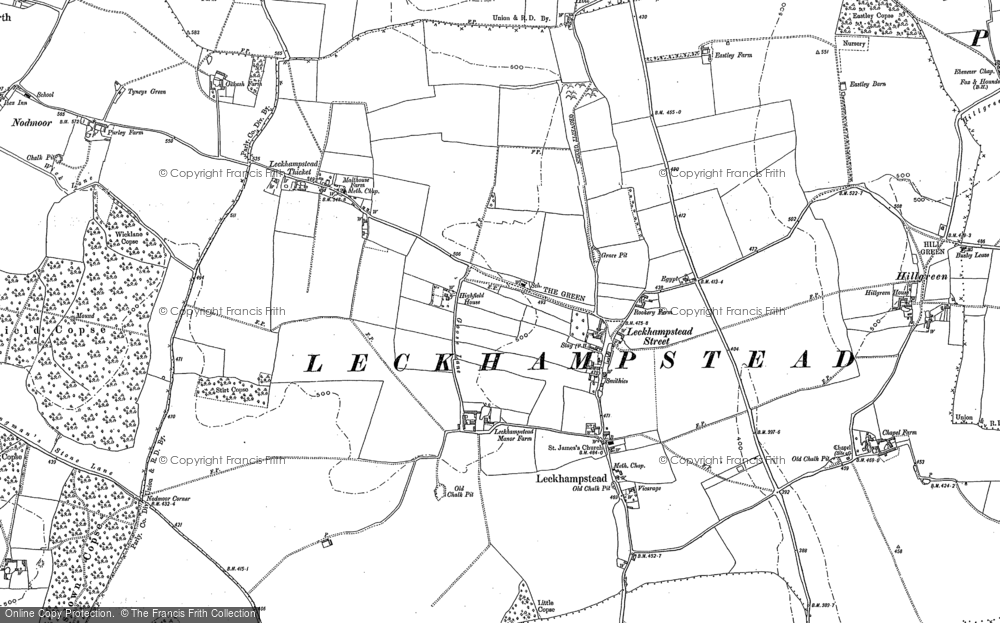 Old Map of Leckhampstead, 1898 in 1898