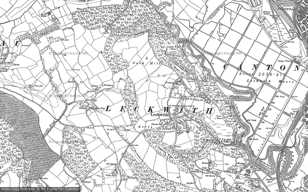 Old Map of Historic Map covering Woodlands in 1889