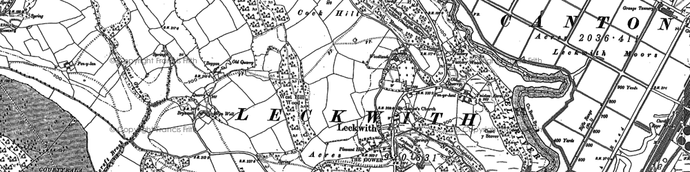 Old map of Leckwith Woods in 1889
