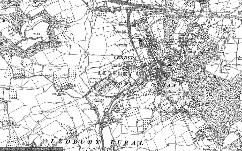 Map of Ledbury, 1886 - 1903