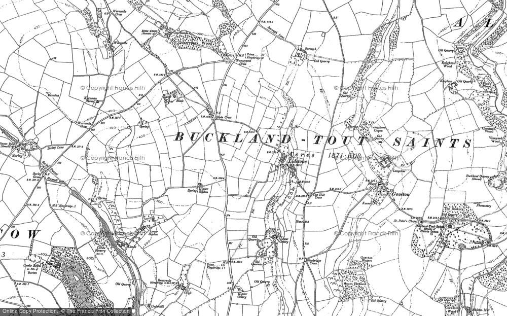 Old Map of Ledstone, 1884 - 1885 in 1884