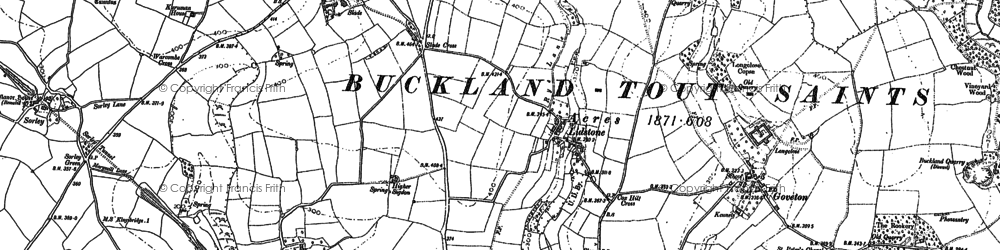 Old map of Ledstone in 1884