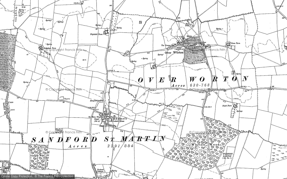 Old Map of Ledwell, 1898 in 1898