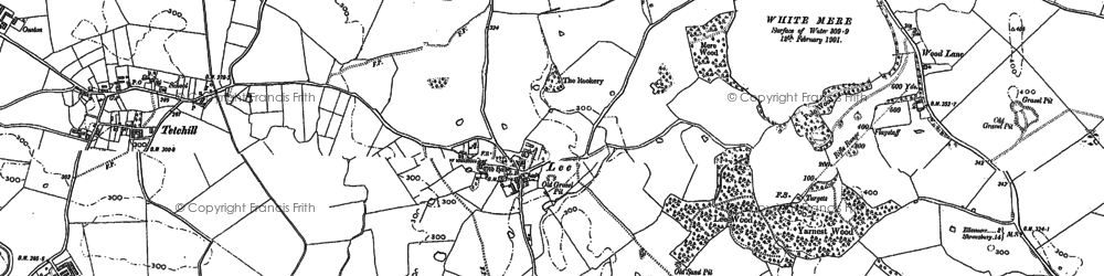 Old map of Lee Bridges in 1874