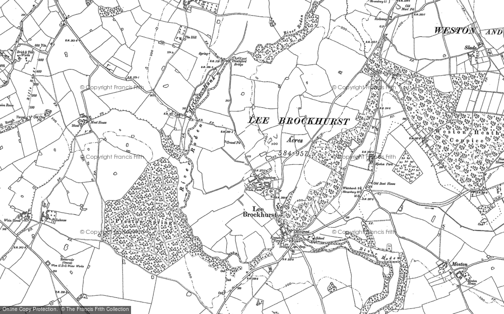 Old Map of Lee Brockhurst, 1880 in 1880