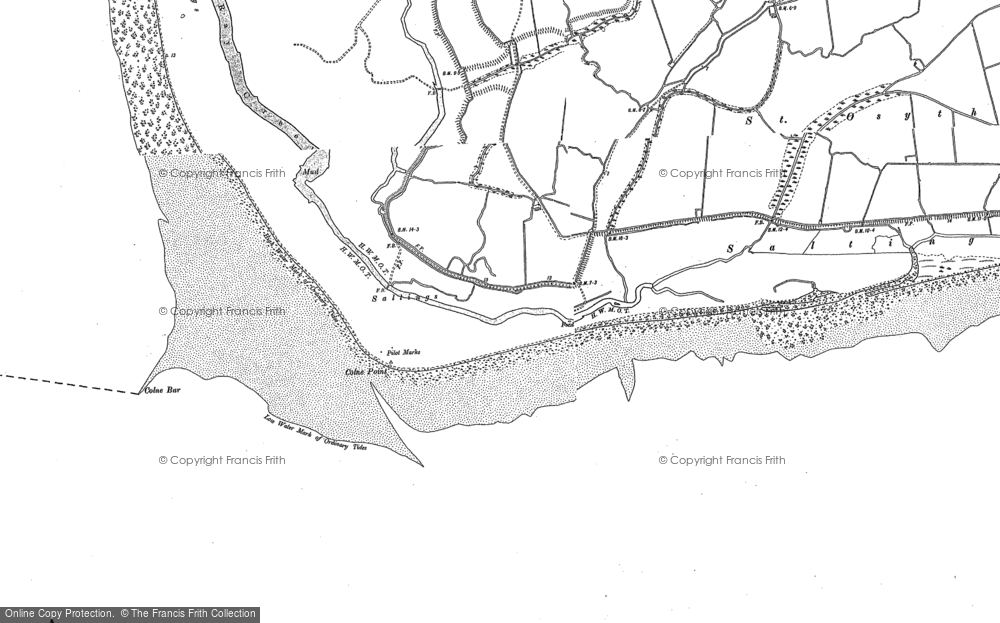 Old Map of Lee-over-Sands, 1896 in 1896