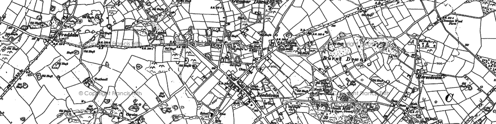 Old map of Gwinear Downs in 1877