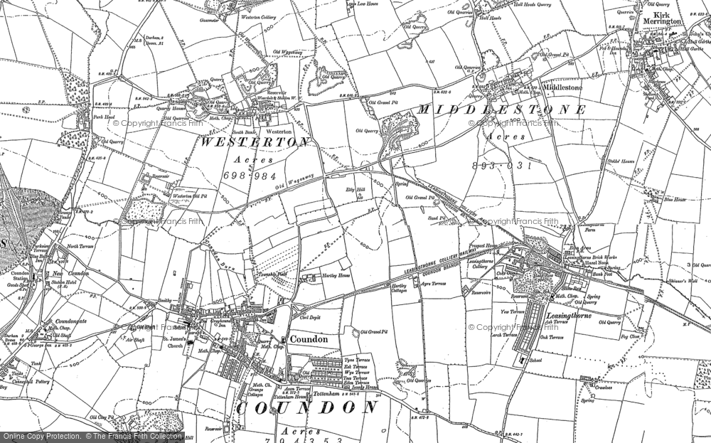 Old Map of Leeholme, 1896 in 1896