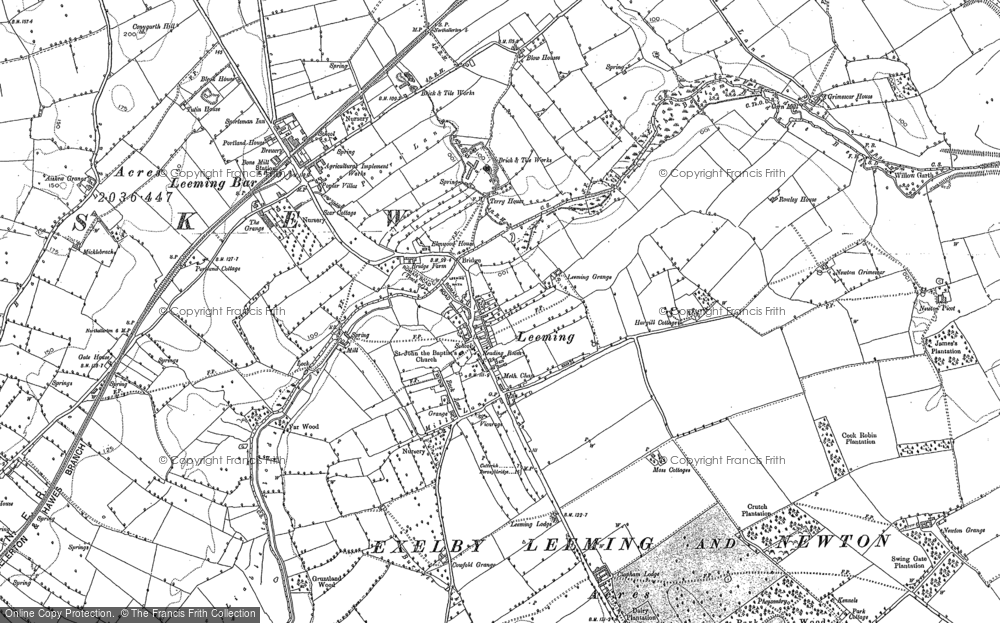 Old Map of Historic Map covering Leeming Lodge in 1891