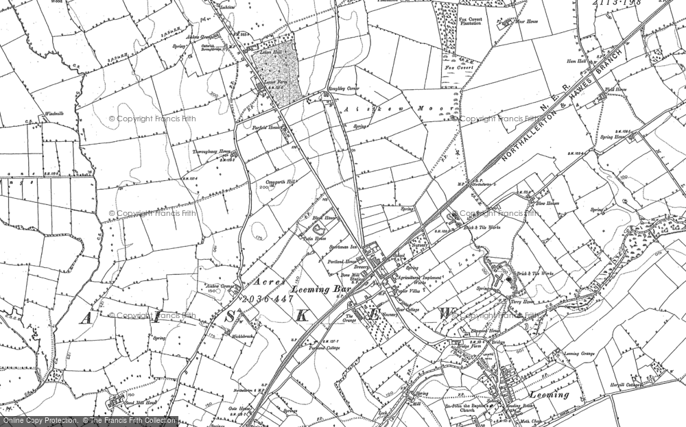 Old Map of Historic Map covering Leases Grange in 1891