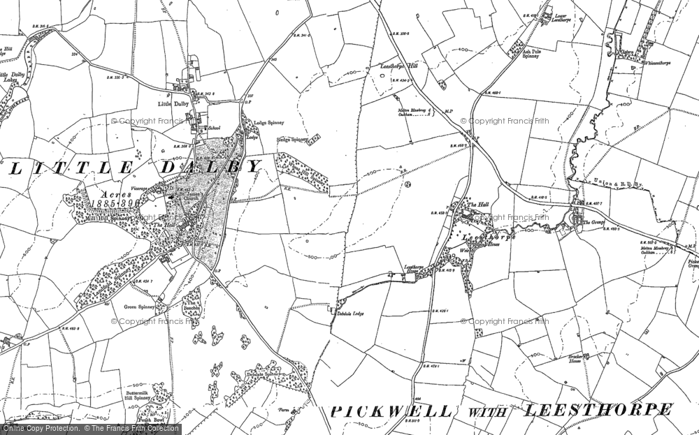 Old Map of Historic Map covering Leesthorpe Hill in 1902