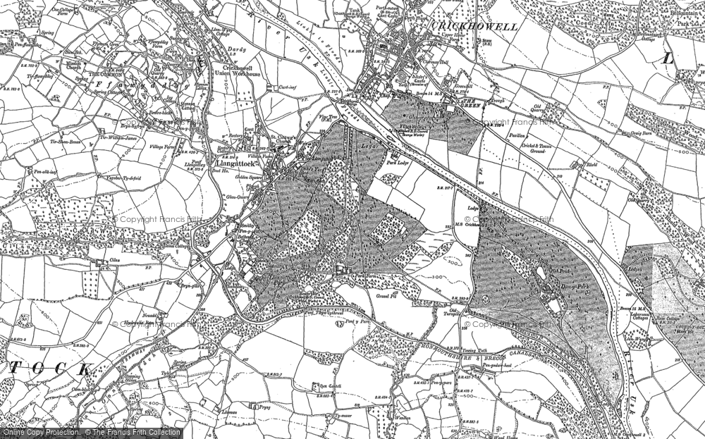 Old Map of Historic Map covering Agen Allwedd in 1879