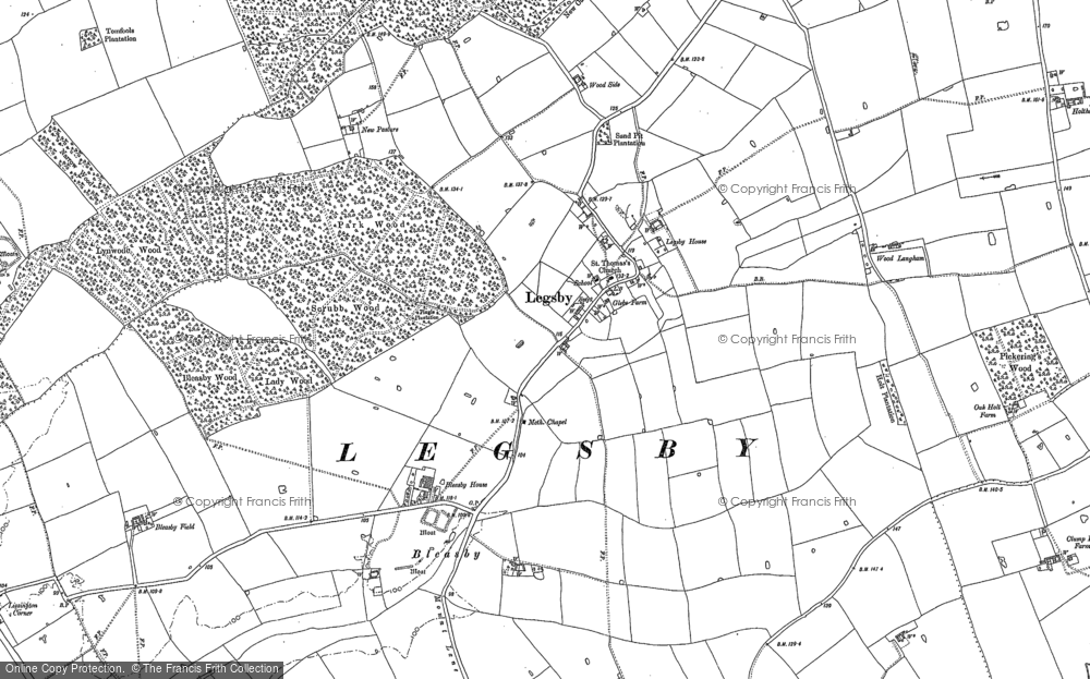 Old Map of Historic Map covering Legsby Wood in 1886